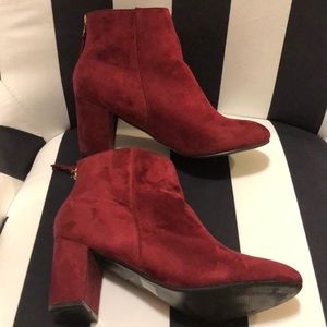 Burgundy Suede Ankle Boots Sz. 9